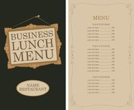 Business lunch menu with picture frame and price royalty free illustration