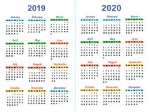 Template vector calendars. Simple layout of Calendar temple for 2019 - 2020 Stock Photography