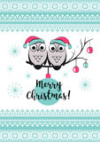 Template vector card with cute owls on a tree branch. Merry Christmas   snowlake, balls and text. Happy New year Royalty Free Stock Photos