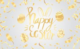 Template vector card with hand drawn elements and realistic decorated eggs. Bunny, cake, willow and chicken. Inscription Happy Ea stock illustration
