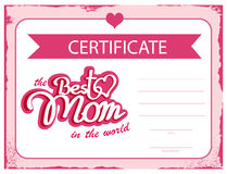 Template vector certificate Best mom in the world. A gift certificate for mothers day. A diploma template Royalty Free Stock Photos