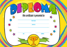 Template vector of child diploma or certificate to be awarded. Kindergarten Preschool kids Diploma design template. vector horizontal certificate for Royalty Free Stock Photography