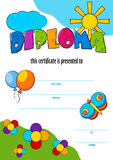 Template vector of child diploma or certificate to be awarded