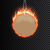 Template of a vector fire label. Fiery special tag or badge for business promotion. Vector illustration Stock Image