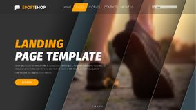 Template vector header with diagonal elements for photo and text. Material design of the banner for the web. Landing page stock illustration