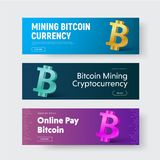 Template of vector horizontal web banners with gold 3d icon of c. Rypto currency - bitcoin. The design is blue, and purple. Set Royalty Free Stock Photos