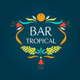 Template vector logo. Tropical bar. Oval frame of Royalty Free Stock Photo