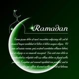 Template vector with moon, mosque, stars inscription Ramadan. Stock Photography