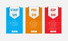 Template of vector multicolored price tables with an arrow-ribbo Stock Photos