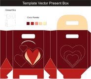 Template vector for present box. With die-cut hearts royalty free illustration
