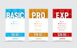Template of vector price tables for the basic, professional and Stock Photography