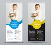 Template of a vector roll-up banner with colored round elements. And a place for a photo. The design of a black and white flyer for business and advertising stock illustration