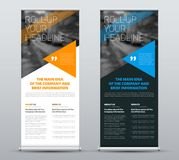Template of vector roll-up banners with blue and orange triangle stock illustration