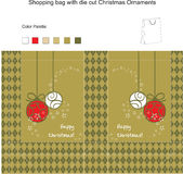 Template for Vector Shopping Bag. With die cut Christmas Ornaments Royalty Free Stock Images