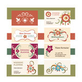 Template of vector vintage business cards with floral logo.  Stock Photo