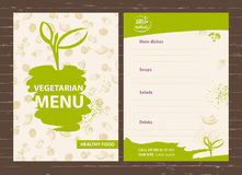 Template of a vegetarian menu for a cafe, restaurant, bar. Healt Royalty Free Stock Photo