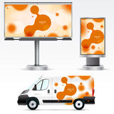 Template vehicle for advertising, branding or corporate identity. Passenger car, truck, bus. Royalty Free Stock Photo