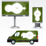 Template vehicle for advertising, branding or corporate identity. Passenger car, truck, bus. Stock Images