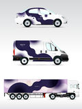 Template vehicle for advertising, branding or corporate identity. Passenger car, truck, bus. Royalty Free Stock Photos