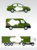 Template vehicle for advertising, branding or corporate identity. Passenger car, truck, bus. Royalty Free Stock Images