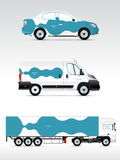 Template vehicle for advertising, branding or corporate identity. Passenger car, truck, bus. Stock Photo