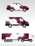Template vehicle for advertising, branding or corporate identity. Passenger car, truck, bus. Stock Image