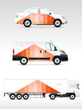 Template vehicle for advertising, branding or corporate identity. Passenger car, truck, bus. Royalty Free Stock Image