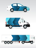 Template vehicle for advertising, branding or corporate identity. Passenger car, truck, bus. Royalty Free Stock Photography