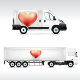 Template vehicle for advertising, branding or corporate identity. Truck, bus. Royalty Free Stock Image