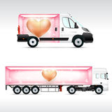 Template vehicle for advertising, branding or corporate identity. Truck, bus. Royalty Free Stock Images