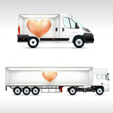 Template vehicle for advertising, branding or corporate identity. Truck, bus. Stock Image