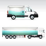 Template vehicle for advertising, branding or corporate identity. Truck, bus. Royalty Free Stock Photography