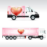 Template vehicle for advertising, branding or corporate identity. Truck, bus. Stock Photo