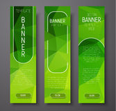 Template vertical banners with polygonal abstract green backgrou Royalty Free Stock Images