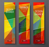 Template of vertical web banners with abstract multi-color polyg Royalty Free Stock Photos