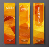 Template vertical web banners with polygonal abstract gold backg Stock Image