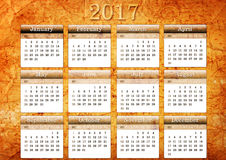 Template of 2017 vintage calendar Royalty Free Stock Image