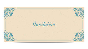 Template of vintage greeting card. With old paper texture vector illustration