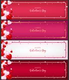 Template of voucher  card as valentine conception. Included 4 types of paper each paper contain heart ,border and greeting text of valentine Royalty Free Stock Image