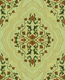 Template for wallpaper. Gentle floral ornament. Template for oriental carpets, textiles, shawl and any surface. Seamless  pattern of gold contours on a green Stock Images