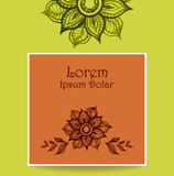 Template with water color abstract flowers in green brown Royalty Free Stock Photos
