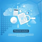 Template Web Banner With Copy Space Financial Analysis Concept. Flat Vector Illustration Royalty Free Stock Images
