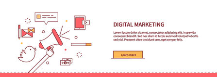 Template Web Page About Digital Marketing Royalty Free Stock Images