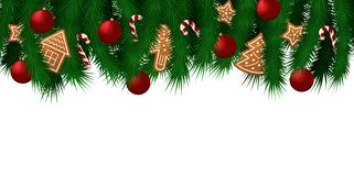 Template web sale banner for Christmas and New Year with branches of the Christmas tree and traditional decorations: gingerbread