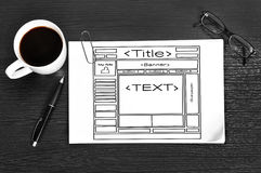 Template web site. Drawing on paper, modern workspace Stock Photography
