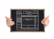 Template web site. Hands holding blackboard with template web site Royalty Free Stock Photography