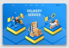 Template Website design. Isometric concept working with Delivery service. Express delivery, online order, call center royalty free illustration