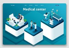 Template Website Isometric Landing page concept Medical hospital. Doctor diagnosing patient in a hospital stock illustration