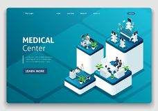 Template Website Landing page Isometric concept of hospital work, maternity ward, work with patients, doctors and surgeons vector illustration