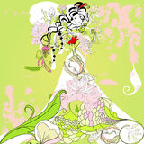 Template for wedding card stock illustration